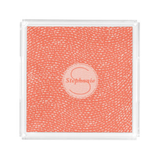 Peach Patterned Custom Monogram Dashed Lines Acrylic Tray