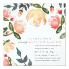 Peach Peonies Bridal Shower Card