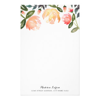 Peach Peonies Personalized Stationery