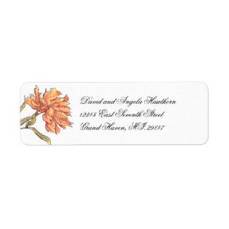 Peach Peony Floral Return Address Label