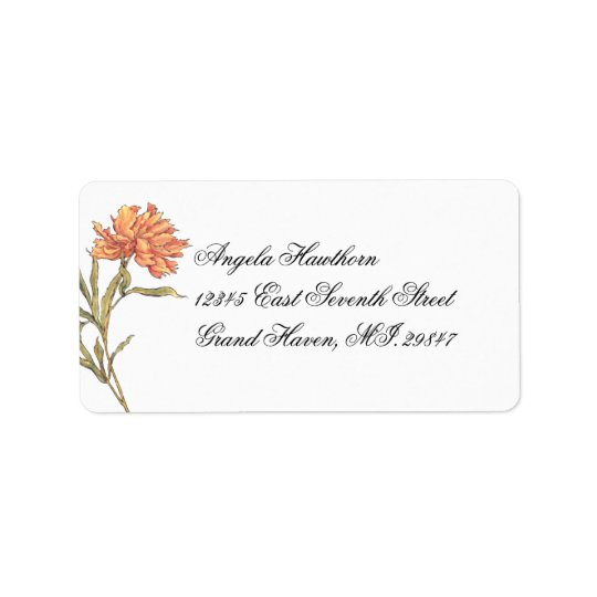 Peach Peony Floral RSVP Address Label