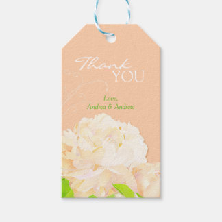 Peach Peony Floral Wedding Thank You
