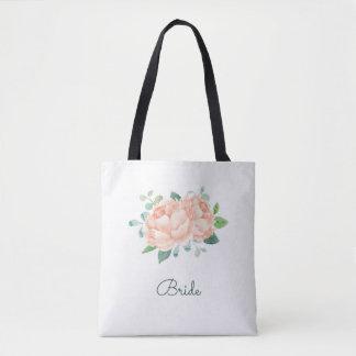 Peach Peony Flowers Bridal Tote Bag