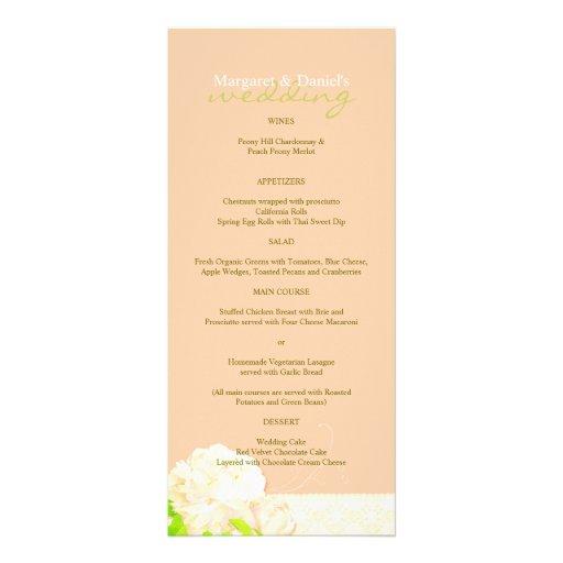 Peach Peony + Lace Wedding Reception Menus (4x9) Rack Cards