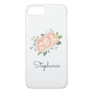 Peach Peony Pretty Watercolor iPhone 8/7 Case