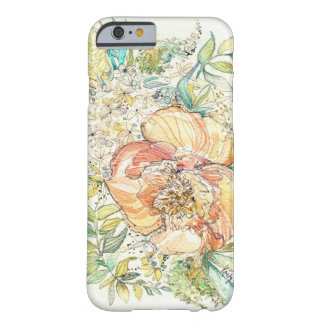 Peach Peony Watercolor iPhone 6 case Barely There iPhone 6 Case