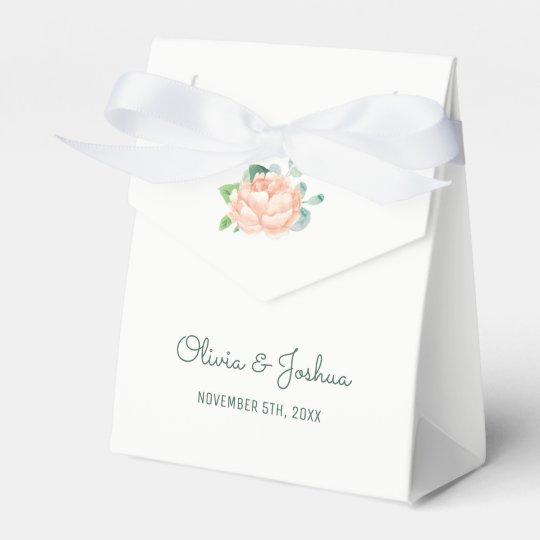 Peach Peony Wedding Favour Boxes