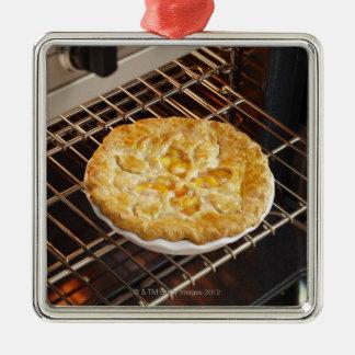 Peach Pie Silver-Colored Square Decoration