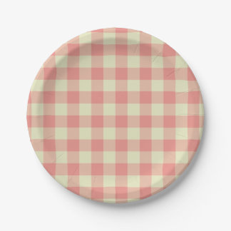 Peach Pink and Cream Gingham Pattern 7 Inch Paper Plate