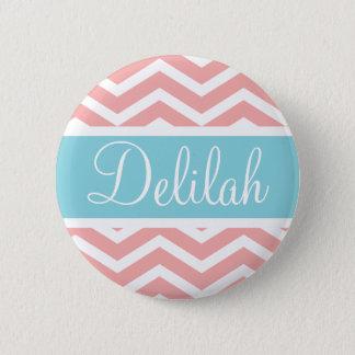 Peach Pink Blue Chevron Custom 6 Cm Round Badge