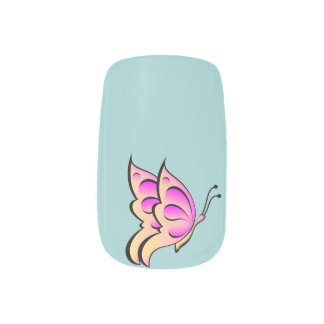 Peach & Pink Butterfly - Lt Blue Back Nails Stickers
