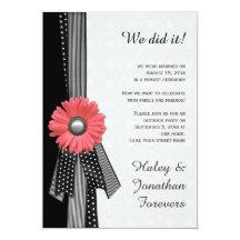 Peach Pink Daisy Black White Damask Reception Only 13cm X 18cm Invitation Card