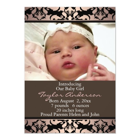 Peach Pink Damask Photo Birth Announcement