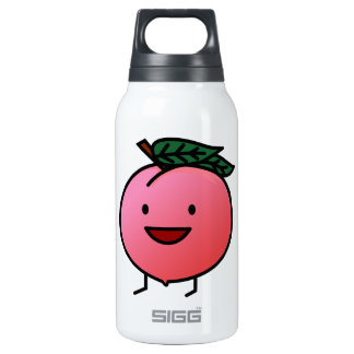 Peach Pink Happy Smiling Design Bro Insulated Water Bottle
