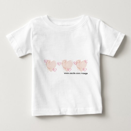 Peach & Pink Hearts Baby T-Shirt