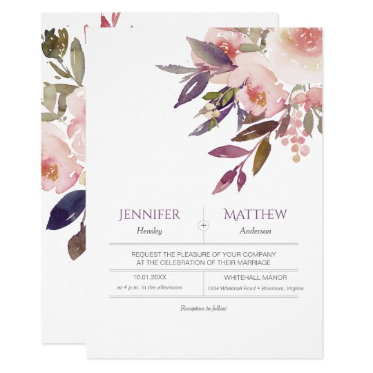 Peach Pink Lavender Watercolor Wedding Invitations