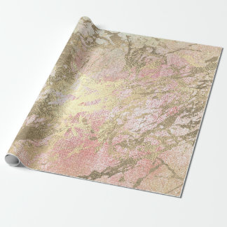 Peach Pink Mint Golden  Metallic Glass Strokes Wrapping Paper