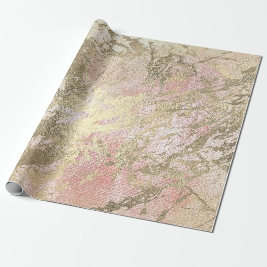 Peach Pink Mint Golden Metallic Glass Strokes Wrapping