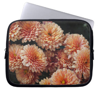 Peach Pink Mums Photo Laptop Computer Sleeve