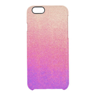 Peach Pink Neon Purple Ombre Spray Paint Texture Clear iPhone 6/6S Case