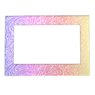 Peach Pink Purple Vintage Floral Scrollwork Magnetic Frame