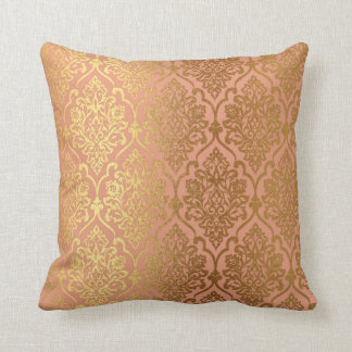 Peach Pink Rose Gold Damask Royal Luxury Decor Cushion