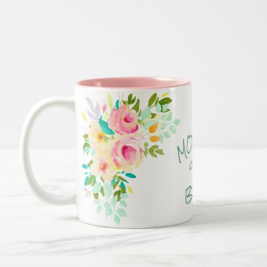 Peach Pink Roses Bride Mother Wedding Two-Tone Coffee