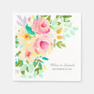 Peach Pink Roses Wedding Paper Serviettes