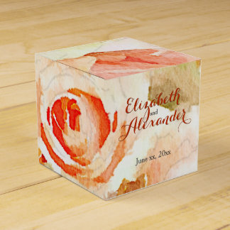 Peach Pink Roses with Modern Script Names Favour Box