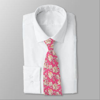 Peach, pink sea shells, coral pink background tie