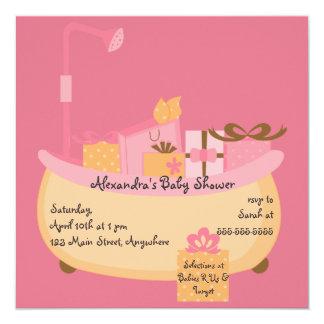 Peach & Pink Tub Baby Shower Invitation