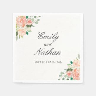 Peach Pink Watercolor Floral Wedding Napkin Paper Napkins