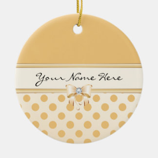 Peach Polka Dot & Faux Diamond Bow Christmas Ornament