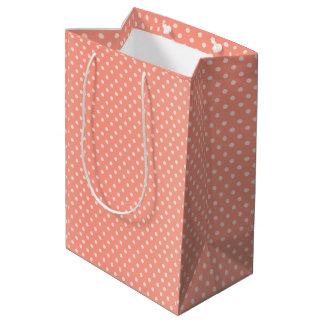 Peach Polka Dots Pattern Medium Gift Bag