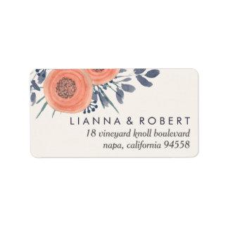 Peach Poppies Return Address Address Label