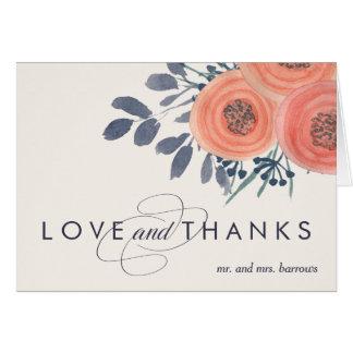 Peach Poppies Thank You Card