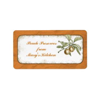 Peach Preserves Food Storage Botanical Address Label