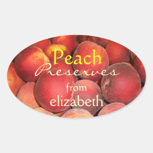 Peach Preserves Oval Sticker