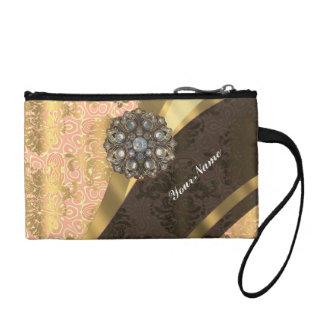 Peach pretty feminine vintage damask pattern coin purse