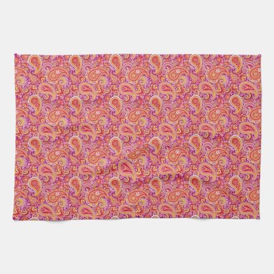 Peach & Purple Paisley Kitchen Towel