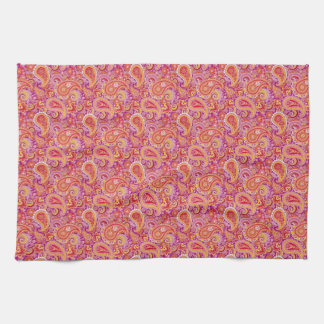 Peach & Purple Paisley Tea Towel