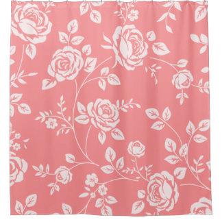 Peach_Retro_Floral(c) Bathroom_ Shower Curtain