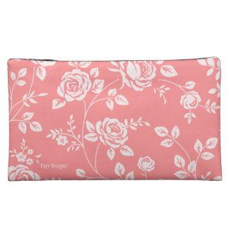 Peach_Retro_Floral(c) Fabric_Sueded_Bag Makeup Bags