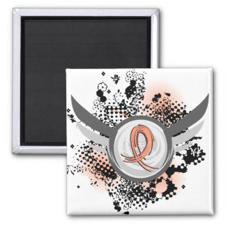 Peach Ribbon And Wings Endometrial Cancer Fridge Magnets