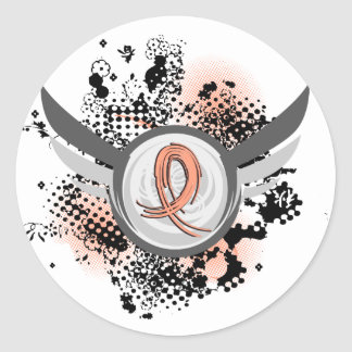 Peach Ribbon And Wings Endometrial Cancer Round Sticker