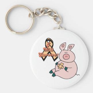 peach ribbon pig basic round button key ring