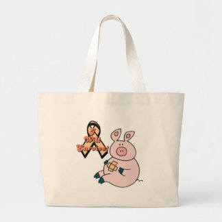 peach ribbon pig jumbo tote bag