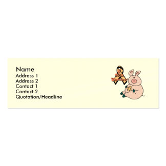 peach ribbon pig, Name, Address 1, Address 2, C... Pack Of Skinny Business Cards