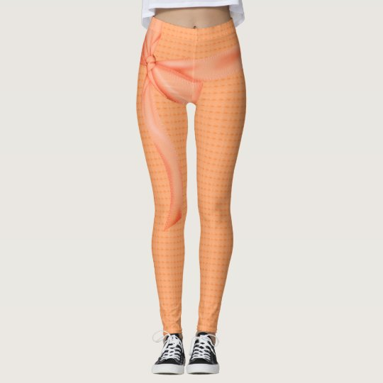 PEACH-RIBBON-ROMANTIC'S--LEGGING'S_XS-XL LEGGINGS