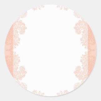 Peach romantic elegant invitation template round sticker